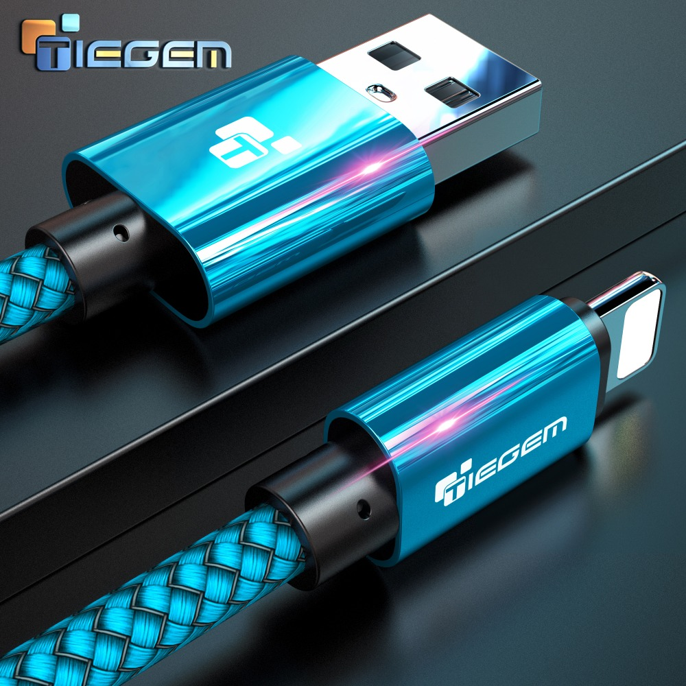 Cable USB Tiegem para iPhone 7 8 6 5 6s S 5 se plus X XS MAX XR Cable Cable de carga rápida Teléfono móvil Cable de datos USB 3M