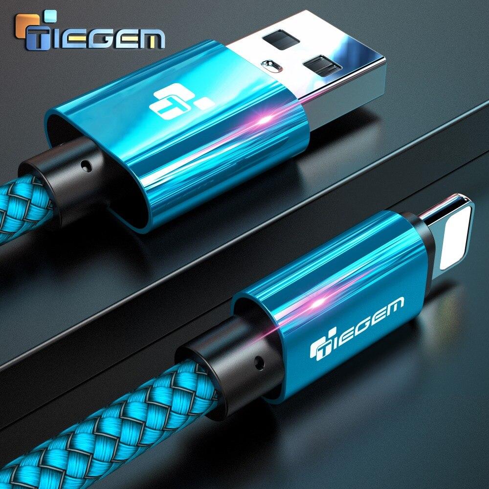 Кабель для быстрой зарядки Tiegem USB Type-C Lighting/USB Type-A, 2A, в нейлоновой обметке, 5 цветов