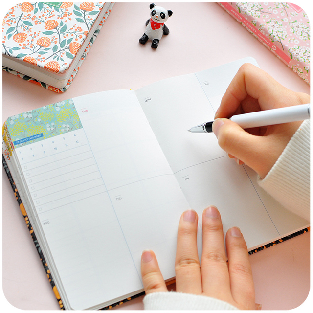 New Arrival Cute PU Leather Floral Flower Schedule Book Diary Weekly Planner Notebook School Office Supplies Kawaii Stationery 3