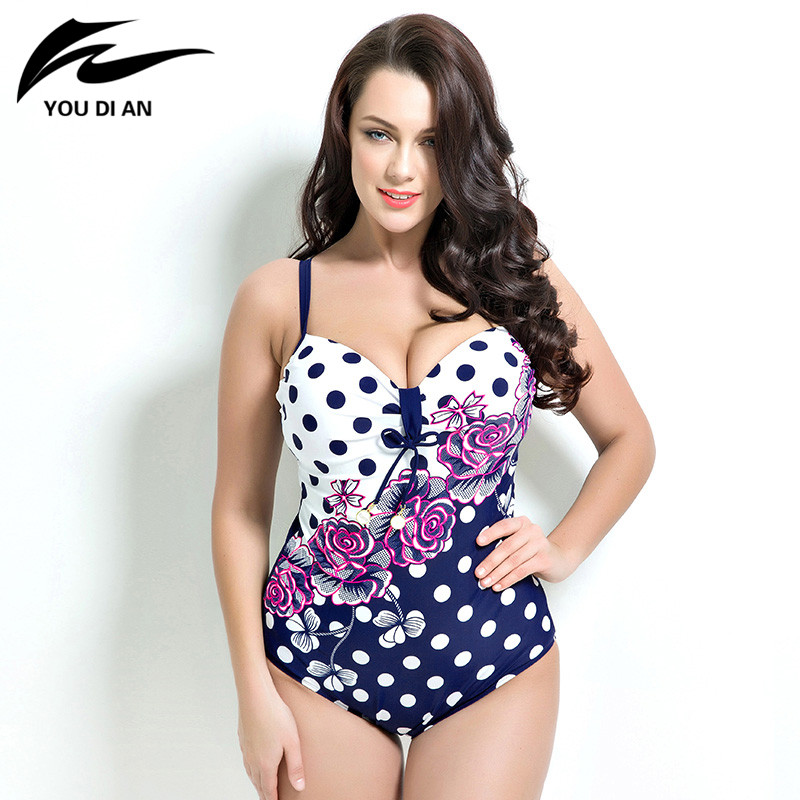 2018 sexy women One Piece Swimsuit Plus Size Swimwear Padded Monokini women Bathing Suits Large Swimsuits Beach wear aleumdr new 2017 plus size women bodysuit swimsuit print one piece monokini beach wear swimwear sexy bathing suits 410071