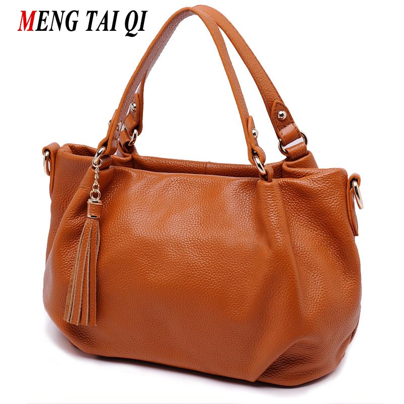 Women Bag Genuine Leather handbags 2017 Famous Brands Crossbody Shoulder Bag Women Messenger Bags Vintage Tassel Cowhide New 4 new genuine leather bags for women famous brand boston messenger bags handbags tassel tote hand bag woman shoulder big bag bolso