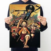 Nueva figura de acción de una pieza póster de Arte de impresión de pared pegatina de papel Vintage Anime de una pieza pósters Luffy quería chicas chicos regalos