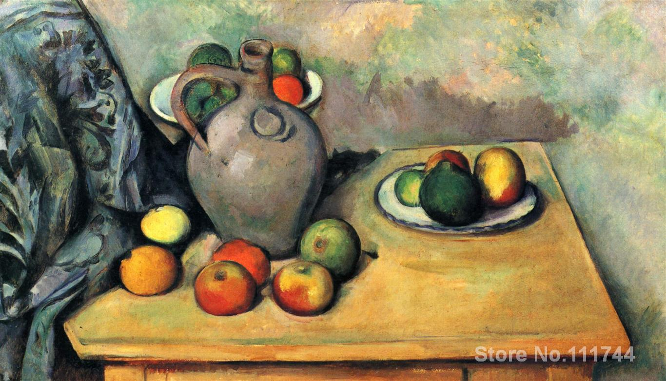 modern art High quality painting of Paul Cezanne Still life jug and fruit on a table Hand paintedmodern art High quality painting of Paul Cezanne Still life jug and fruit on a table Hand painted