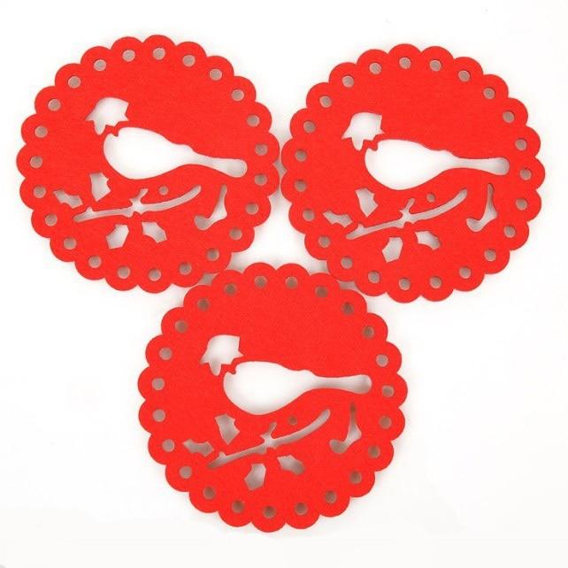 Dia 12cm DIY Paper-cut Bird Felt Cloth Cup Mat Table Placemat Coaster Home Decoration 50pcs/lot SH059