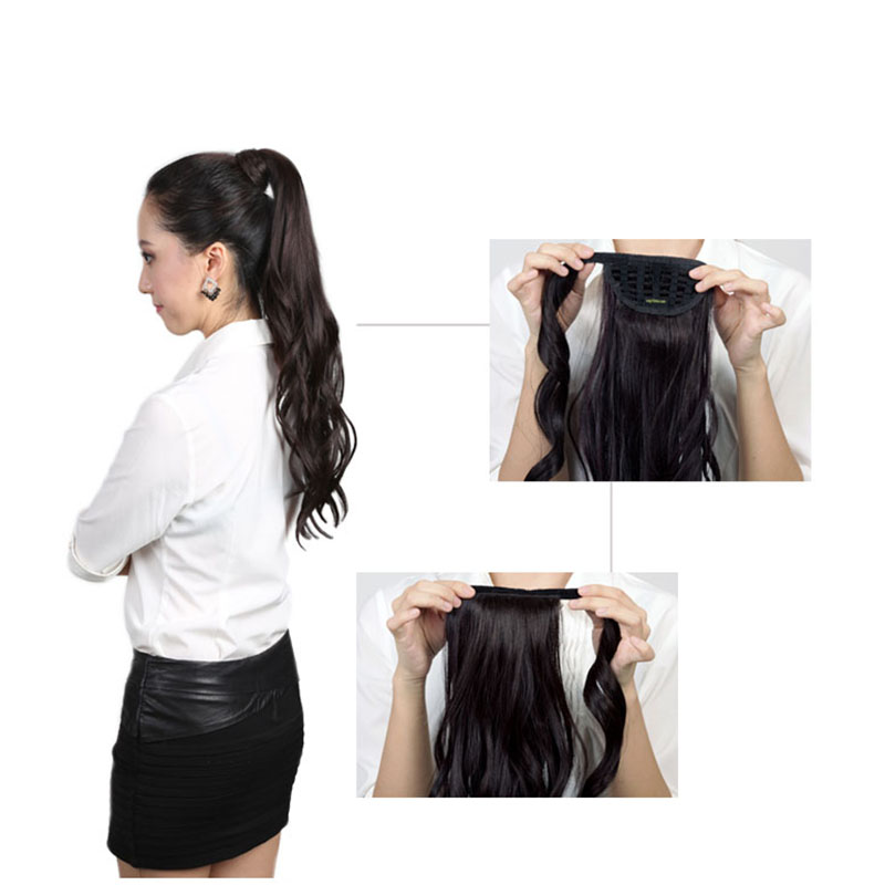 Allaosify WIG Wavy Long curly High Temperature Fiber Synthetic Wrap Around Hairpieces Fake Hair Ponytail Extensions