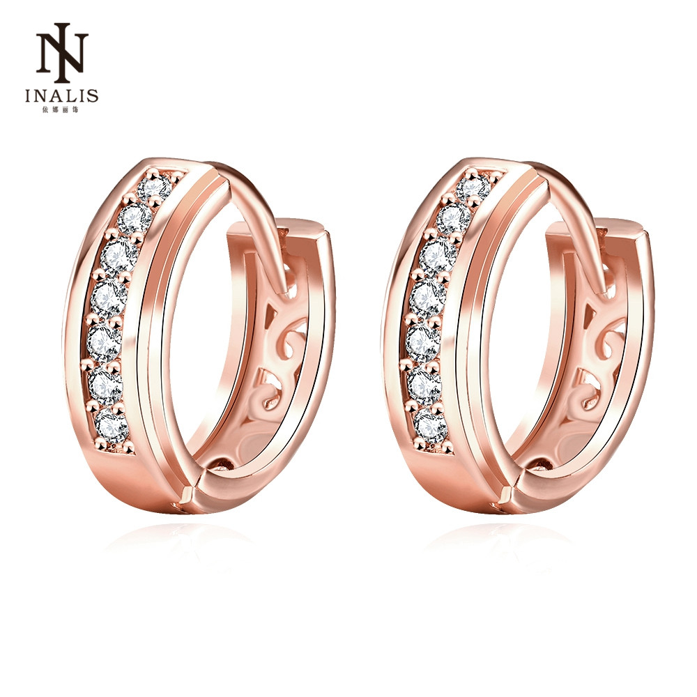 INALIS Round Inlaid Zircon Gold Color And Rose Gold Color Copper Stud Earrings For Women Female
