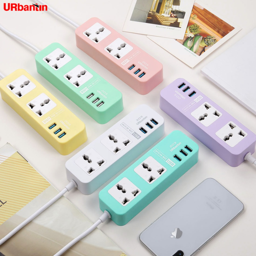 Original Urbantin 2AC Outlets 3 USB Outputs universal Power Strip color Smart Fast Charging usb able With EU AU UK US adapter