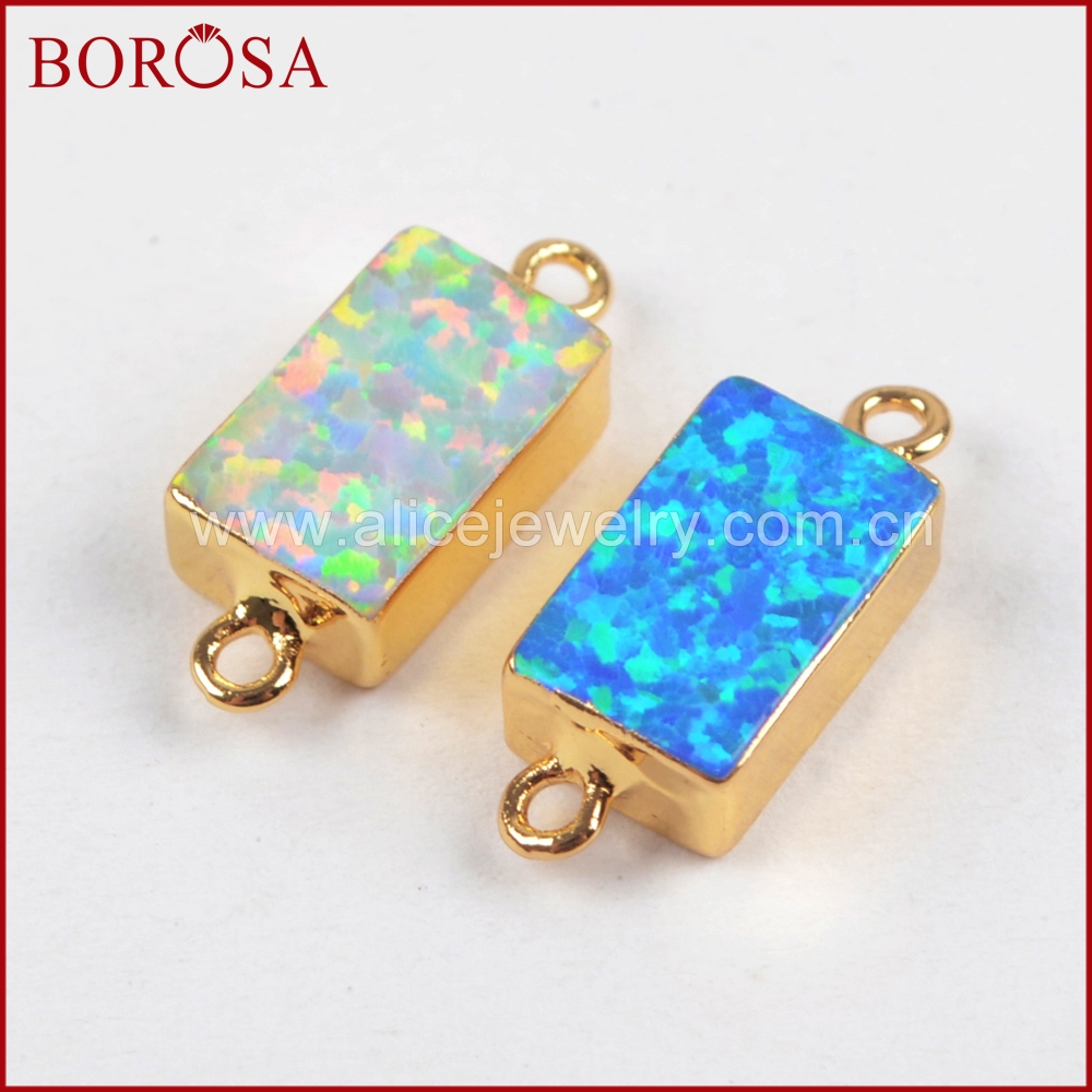 BOROSA 10PCS Stylish Rectangle Gold Color Japanese Opal Connectors Manmade Opal Gems Connector for Jewelry Making DIY G1461