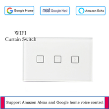 US standard WIFI touch curtain switch voice control wall touch switch controlled by Tuya APP work with Alexa / Google four gang wifi control wall switch us au standard touch control by app white b support double control with power monitor
