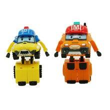 2 pcs/lot robocar poli aocoren mark bucky korea transformasi mainan robot mobil anime action figure mainan anak hadiah