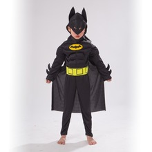 Muscle Batman Hero Children Fantasy Cosplay Costume Comic Movie Carnival Party Purim Halloween
