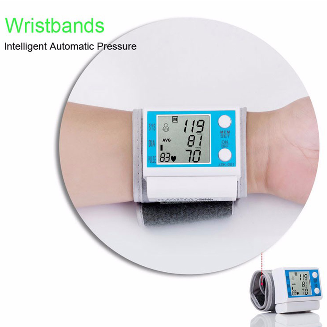 Householde Health Care Automatic Wrist Blood Pressure Monitor Digital LCD Wrist Cuff Blood Pressure Meter 11