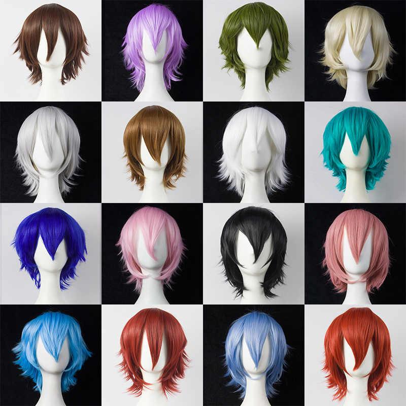 HSIU 30cm peruka krótka czarny biały fioletowy niebieski czerwony wysoki temperatura włókna peruki syntetyczne impreza przebierana peruka do cosplay multi 17 kolor