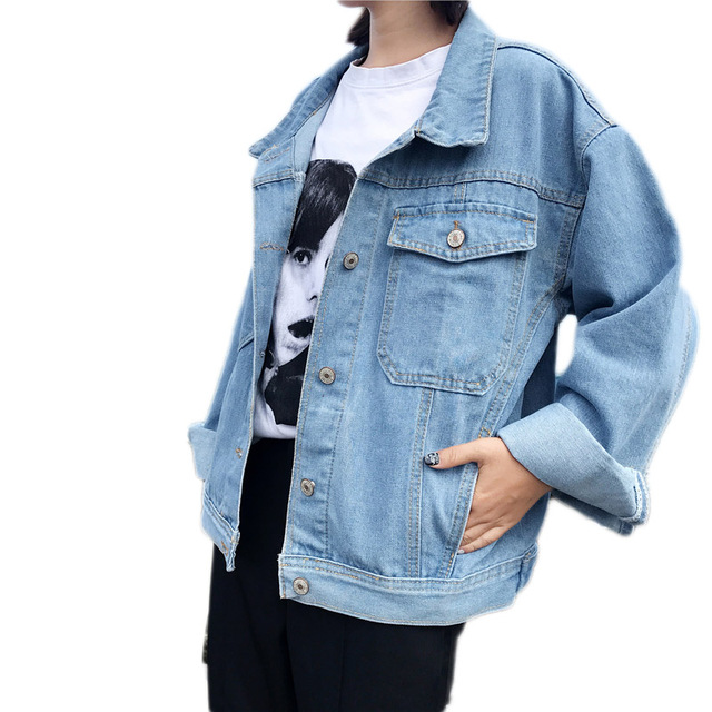 8e3205bda Autumn Women Casual Light blue Denim Jackets Vintage Denim Girls ...