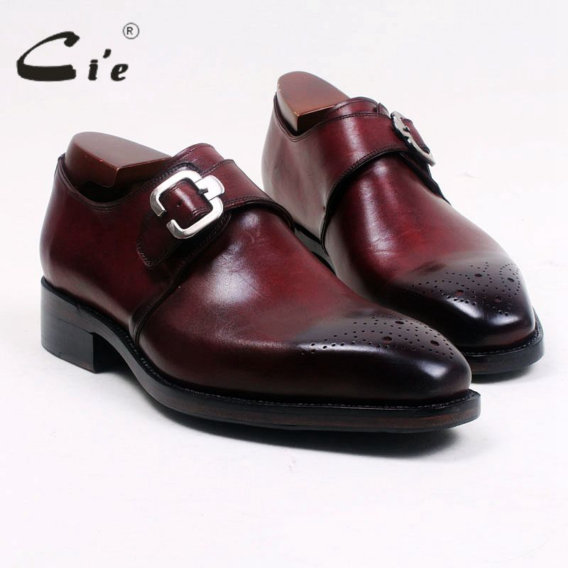cie Square Toe Cut outs Hand Painted Deep Wine Single Monk Straps 100 Genuine Calf Leather