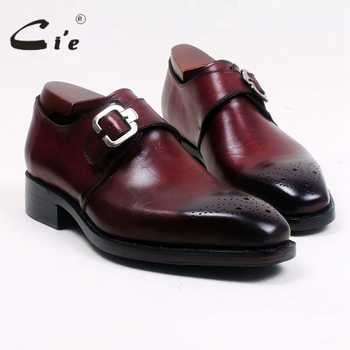 cie Square Toe Cut-outs Hand-Painted Deep Wine Single Monk Straps 100% Genuine Calf Leather Bottom Breathable Men's Shoe MS99 - DISCOUNT ITEM  0% OFF All Category