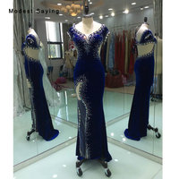 Real PhotoSexy Backless Royal Blue Mermaid Velvet Evening Dress 2017 with Rhinestone Long Party Prom Gown vestido longo de festa