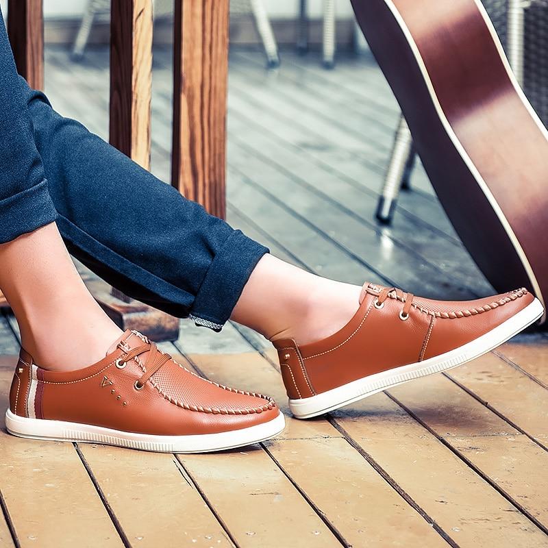 Genuíno Até Blue Condução Couro Rendas Respirável Sapato Da Juventude brown De Novos Confortável Sapatos Plataforma Homens Casuais 2019 Moda Para Homem Hq8Z81