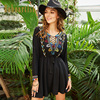 Bohoartist Women Boho Dress Autumn Floral Print Embroidery Lace Up OL Tassel Long Sleeve V Neck