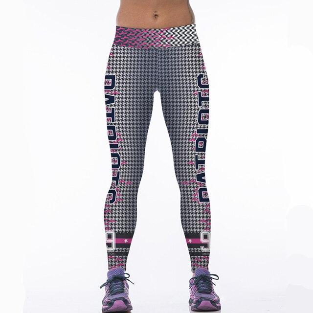 d2e5ba94f7dd1 Spring Women Sport Leggings Letter 3D Print High Waist Quick Dry Slim Gym  Workout Pant For