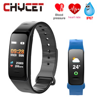 2018 Smart Bracelet C1s Color Screen Waterproof Wristband Heart Rate Monitor Blood Pressure Measurement Fitness Tracker