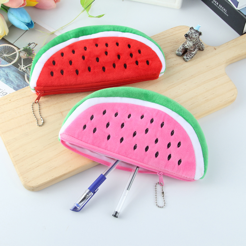 Pencil Box Pen Bag Coin Wallet Creative Imitation Fruit Watermelon Large Capacity Practical Gift Makeup Bag Lovely Plush Toys