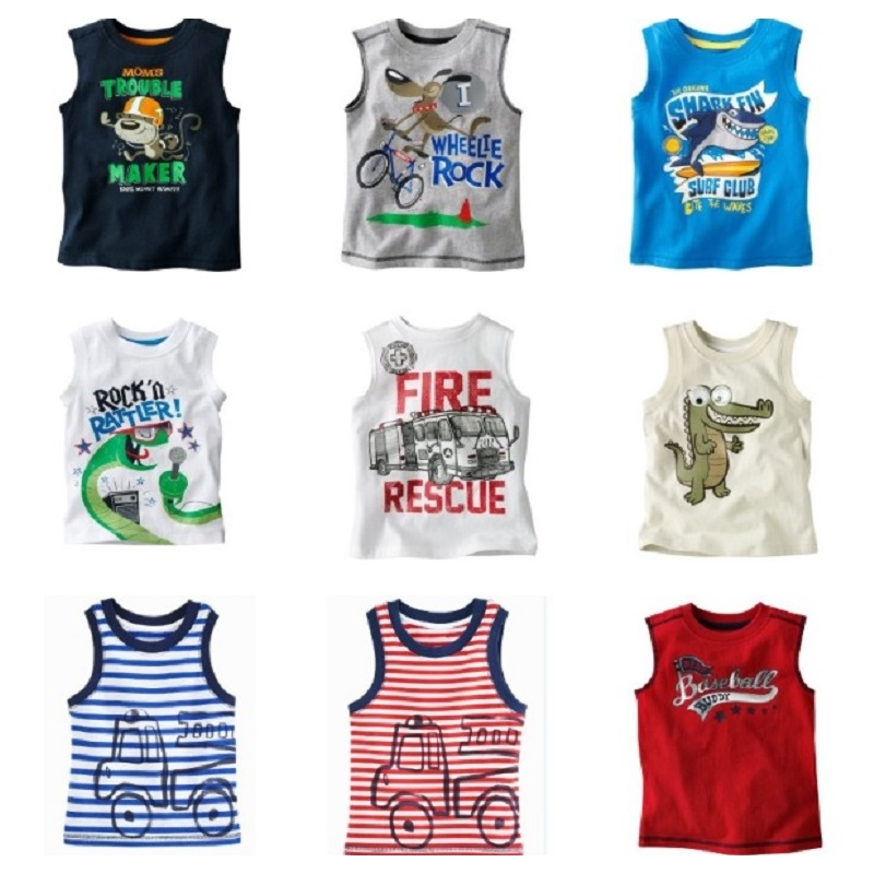 Hooyi Sleeveless Baby Boys T-shirts Children Tops Singlets Summer kids Vest baby boy tops Boy's clothes 100% Cotton Tees Shirts все цены