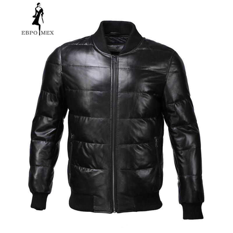 Baseball style leather jacket men Mandarin Collar leather jacket Internal Cotton jacket mens genuine leather Warm jaqueta
