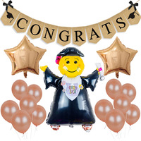 Выпускной доктор Фольга шары Лен баннеры поздравляю розовое золото латекс Выпускной вечерние украшения торжества Вечерние поставки