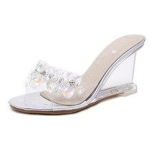POADISFOO de cristal de mujeres zapatillas Sandalias de cuña mujer Sexy  transparente cristal zapatos de tacón 4fc5a51328e3