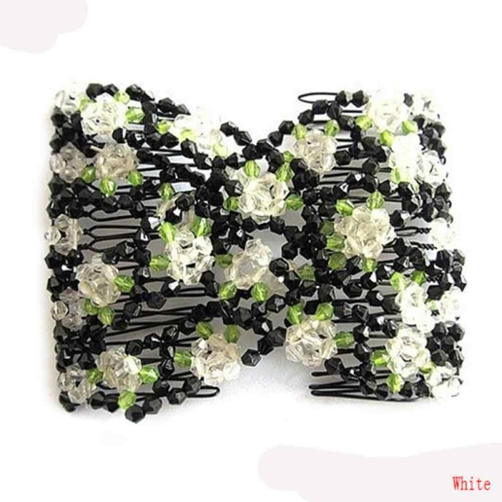 Spinki do włosów Chic klasyczny Stretch Rose kwiat łuk szklany koralik fryzjerstwo klipy zacisk Salon spinki akcesoria do włosów DIY stylizacji