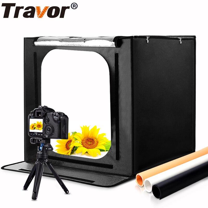 Travor pliant photo studio lightbox softbox 60 cm 46 w 3400LM avec blanc jaune noir fond Éclairage Studio Tir Tente