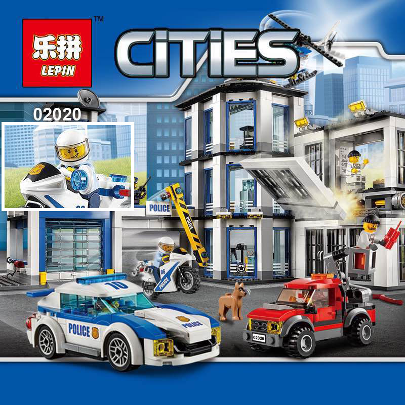 Lepin 02020 965Pcs City Series The New Police Station Set children Educational Building Blocks Bricks Boy Toys Model Gift 60141 dhl lepin 02020 965pcs city series the new police station set model building set blocks bricks children toy gift clone 60141