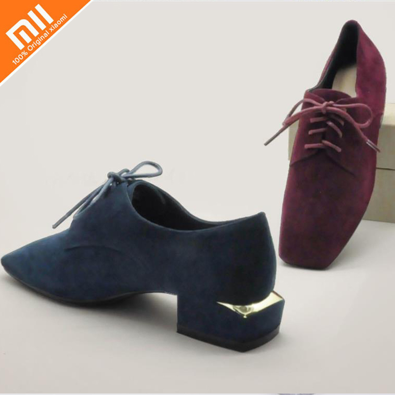 Original xiaomi I AM TREE suede suede lace single shoes high quality sheepskin retro square head fashion wild ladies single shoe объявления стенд