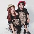 2017 la primavera y el otoño de la borla de la falda Trajes A Juego paternidad Familia Madre E Hija vestido de negro con flecos salvaje Envío Libre