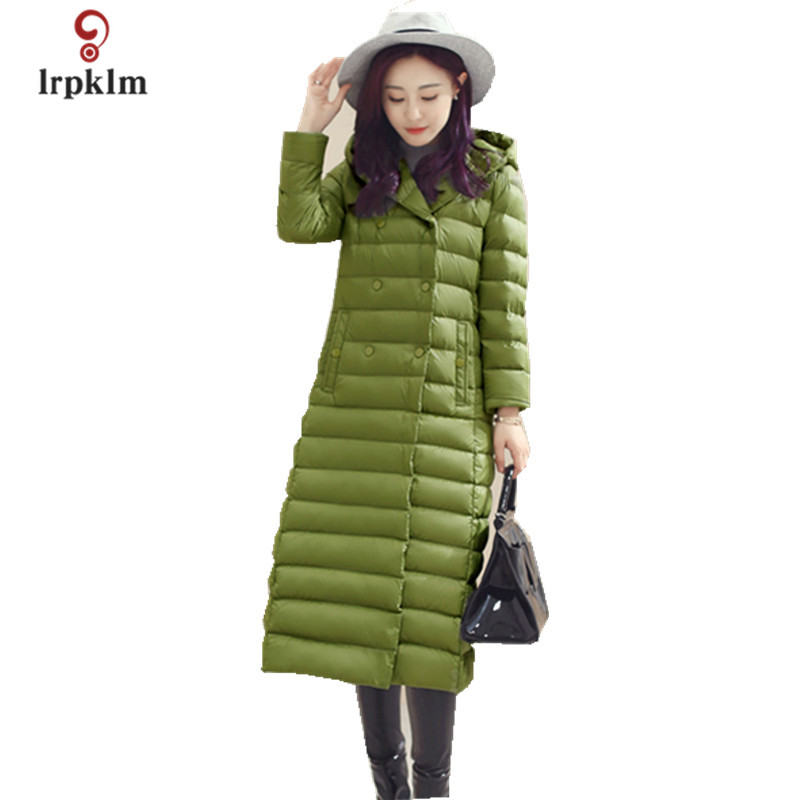 2017 New Women Winter Long Down Jackets Female Warm Duck Down Coat Hooded Collar Womens Ultra Down Parkas 5Color PQ099