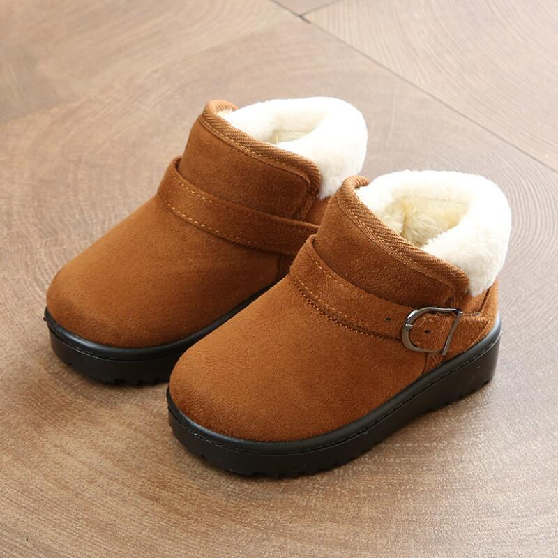 SKHEK Boots Kids Fashion Boy Snow boots thick Child cotton shoes warm plush soft bottom girls shoes winter ski Boot For Baby in Boots from Mother Kids
