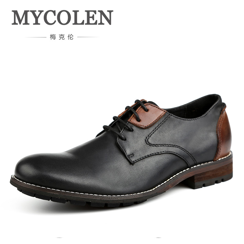 MYCOLEN Genuine Leather Mens Dress Shoes High Quality For Men Lace-Up Business Brand Men Wedding Shoes Sepatu Kulit Pria цена