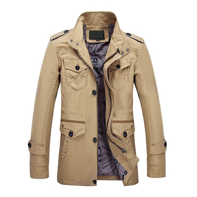 Vestes Coton De Up Hommes Et Style Khaki Arrivée Militaire Manteaux army Casual Col Nouvelle Croisé Stand Green Zip Automne D'hiver Tranchée black xzgFnPq