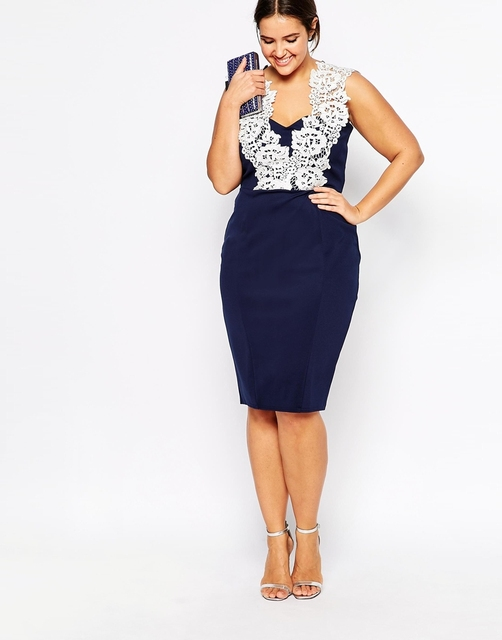 Fashion design plus size pencil dress sexy deep v-neck dresses navy blue  midi dress with white lace female fashion 039 76292e92c1af