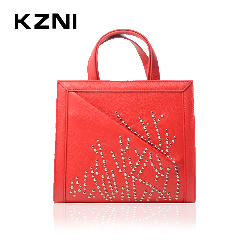 KZNI Large Women Leather Handbags Crossbody Clutch Shoulder Luxury Handbags Top-Handle Bags For Girls 2017 Sac a Main 1346 kzni genuine leather top handle bags rivet crossbody bag with chain women leather handbags sac a main pochette sac fem 1427 1428