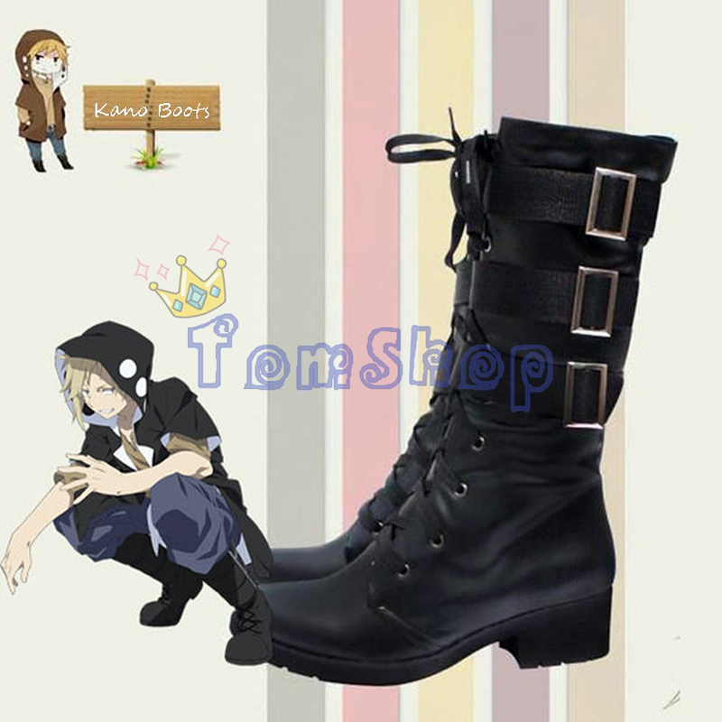 New Kagero Project MekakuCity Actors KANO Cosplay Shoes Black Lace up Riding Equestrian Boots Men Women