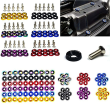 10PCS M6 JDM Car Modified Hex Fasteners Fender Washer Bumper Engine Concave Screws Fender Washer License Plate Bolts Car styling