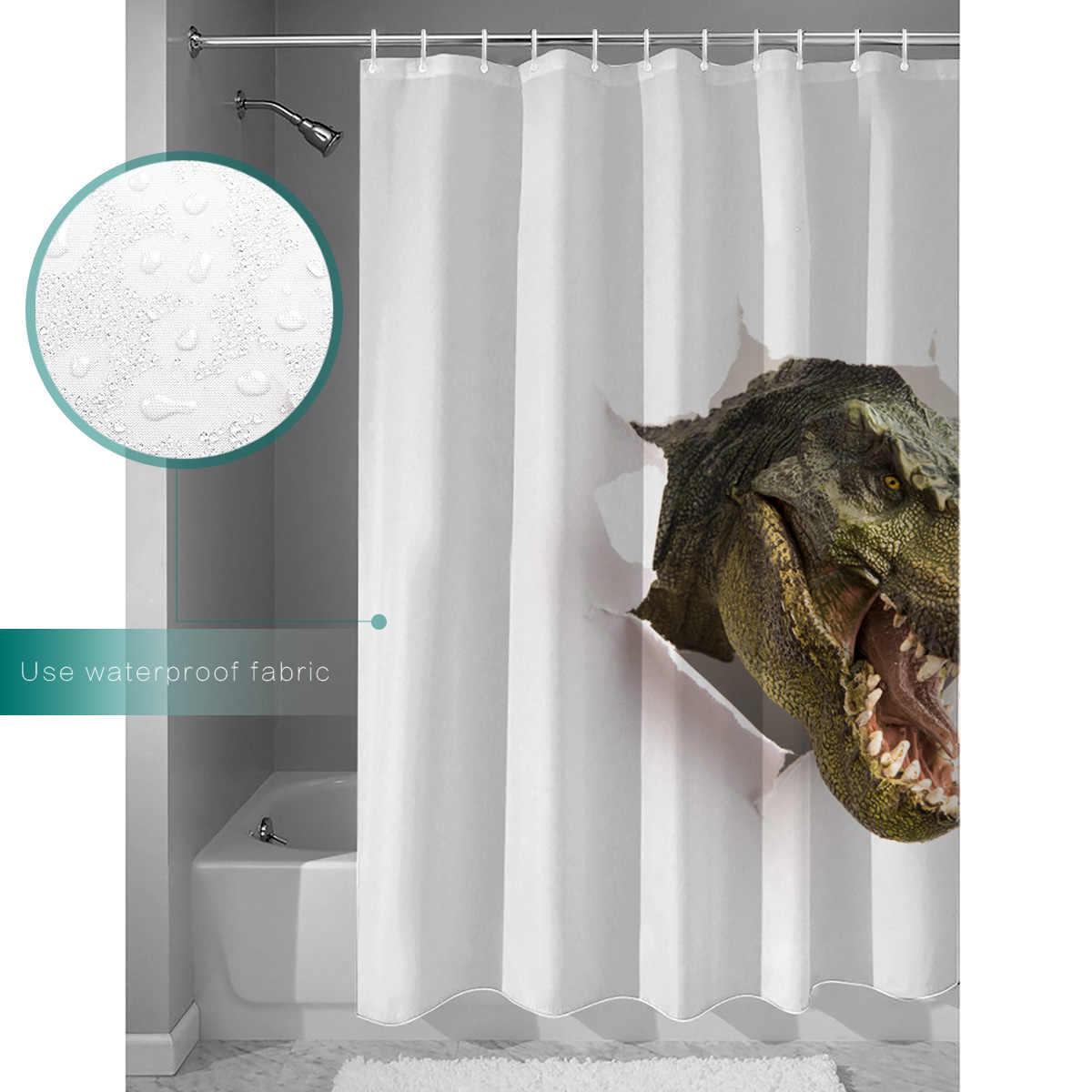Predador 3D Conjunto de natal Cortina de Chuveiro Cortinas de Chuveiro com Ganchos de Dinossauros Tiranossauro Rex Dinossauro Sombra Cortina Tapete