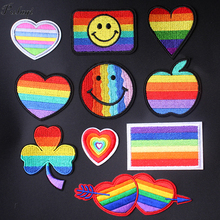 Pulaqi New Rainbow Iron On Patches For Clothing Gay Flag Embroidered Women Lady Backpacks DIY Appliques Decoration F