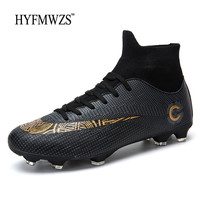 FMWZS High Ankle Football Shoes Superfly Sneakers Men Soccer Shoes Long Spikes Antiskid Soccer Cleats Chuteira Futebol 2018