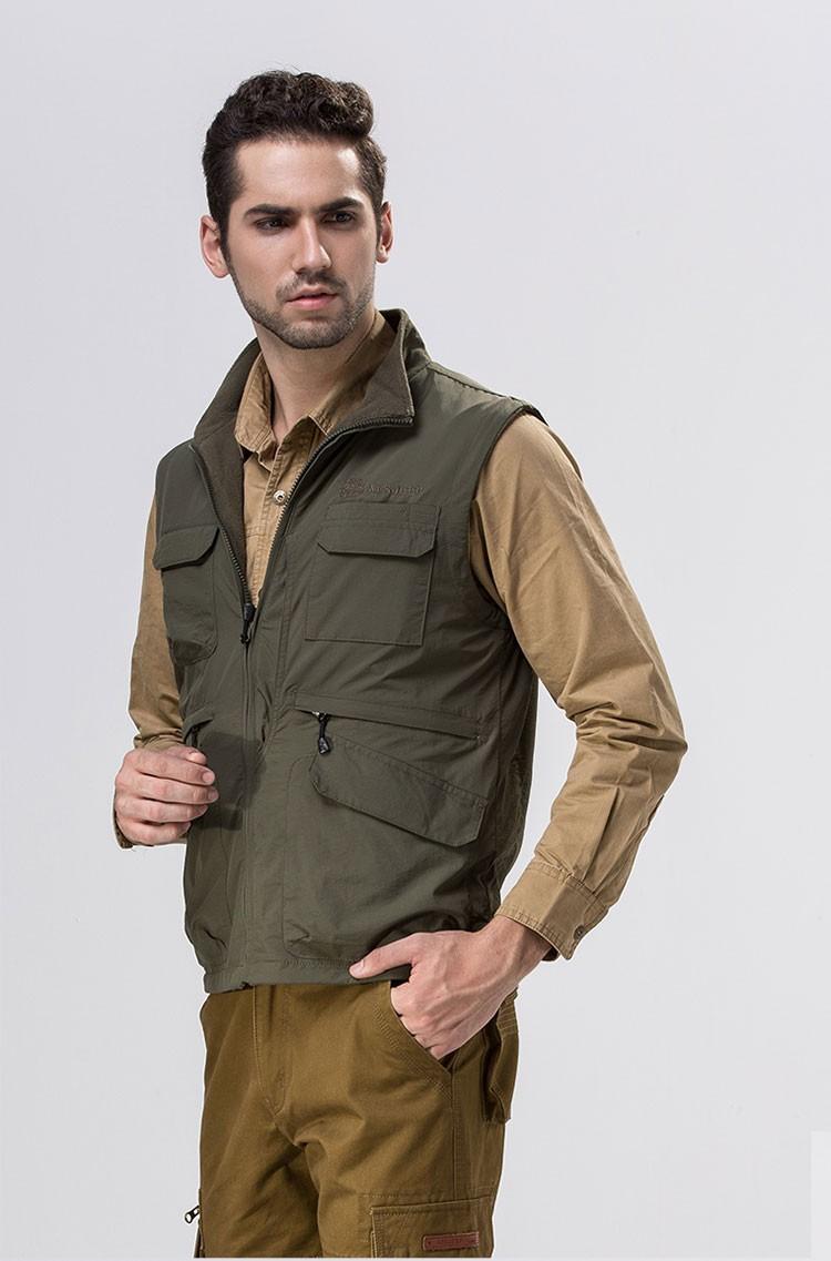 2015 Autumn Spring Casual Men Vest Coat Fleece AFS JEEP Cotton Multi Pocket 4XL Cargo Outdoor Sleeveless Jackets Waistcoat Vests (3)