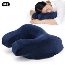 Portable nap head pillow Slow rebound memory foam sleeping airplane Car Travel home office Desk cushion blue
