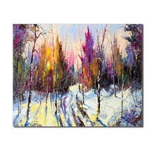 Laeacco Winter Watercolor Trees Snow Posters and Prints Wall Artwork for Living Room Home Decor Classic Canvas Painting