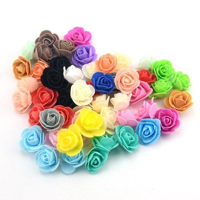 100 pçs/lote Mini Espuma do PE Com Silk Rose Cabeça de Flor Artificial Rose Flores Handmade DIY Casamento Casa Decoração Do Partido Suprimentos